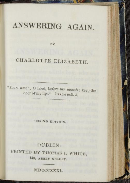 1790-1846 Charlotte Elizabeth - Answering again