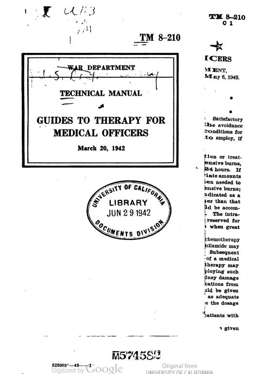 United States. War Department - TM 8-210 Guides to Therapy for Medical Officers