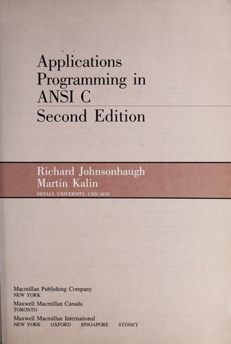 Download Applications programming in ANSI C