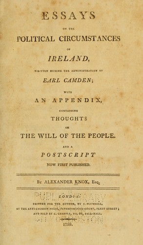 Download Essays on the political circumstances of Ireland