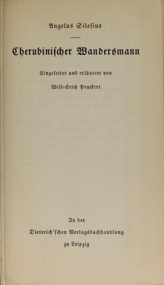 Cover of: Cherubinischer Wandersmann | Angelus Silesius