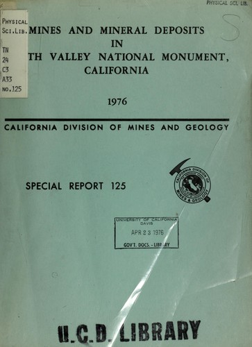 Mines and mineral deposits in Death Valley National Monument, California by Evans, James R.