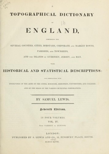A topographical dictionary of England by Lewis, Samuel