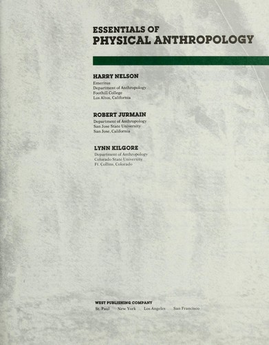 Essentials of physical anthropology by Harry Nelson